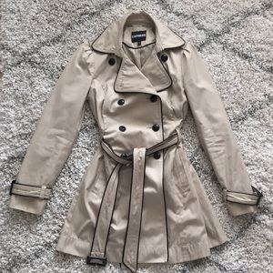 Express Tan Trench with Black Piping/Details (XS)